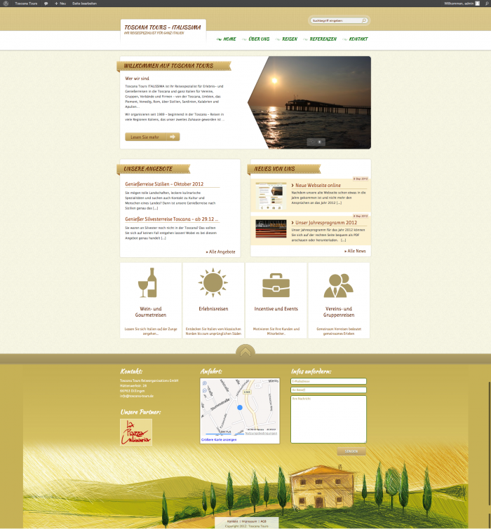 Toscana Tours Webseite